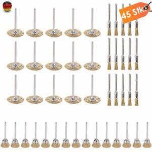 45 Stk. Messing Drahtbürste für Dremel Schleifer Zubehör 5/15/25 mm Golden