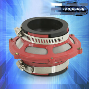"""For Eclipse EVO 2.5"""" 63.5mm Cold Air Intake Dry Bypass Valve Filter Red + Clamps"""