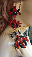 drag queen jewerly new clip on show pageant dragqueen jet siam red Ring earrings