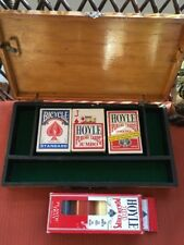 Vintage Wooden Poker Box W/New Box of 100 Chips & 3 Decks Of Cards Felt-Lined