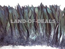 120+ IRIDESCENT Black rooster feathers coque tail feathers strung wholesale bulk