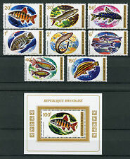 Rwanda 1973 neuf sans charnière poisson 8 V Set + 1 V M/S Poissons Timbres