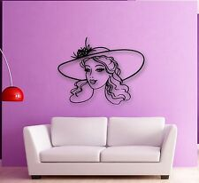 Wall Stickers Vinyl Decal Beautiful Girl in the Hat Fashion Style (ig727)