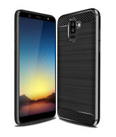 SDTEK Carbon Fibre TPU Case Silicone Phone Cover for Samsung Galaxy A6 (2018)