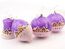 Set (4) Large luxury hand decorated Czech purple glass Christmas tree ornaments