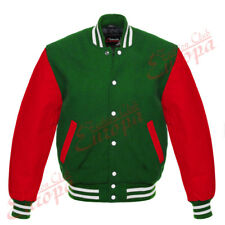New Varsity Letterman Green Wool Jacket with Red Leather Sleeves