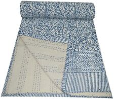 Indian Handmade Hand Block Print Queen Cotton Kantha Quilt Throw Blanket Gudari