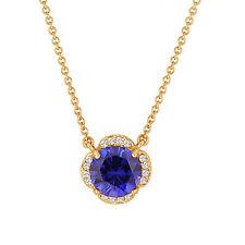 Blue Sapphire & Diamonds Clover Pendant Necklace 2.72 Carat 14k Yellow Gold