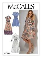 M7537 Sewing Pattern Semi-fitted dresses neckline & sleeve var McCall's M7537