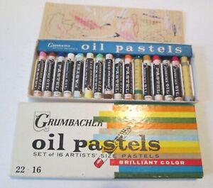 Vintage Set of 16 Grumbacher Oil Pastels 22-16, Barely Used