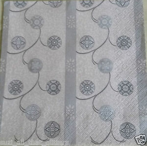 4 x  PAPER NAPKINS WHITE & SILVER BAUBLES for TABLE, DECOUPAGE & CRAFTING