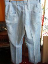 36x30 True Vtg 70s Mens SKY BLUE POLYESTER KNIT MOD PANTS DISCO FLARE SLACKS