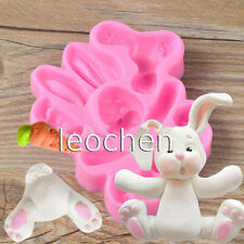 Sugar Buttons RABBIT Easter Bunny Silicone Mould Fondant Cake Molds Cupcake Tool