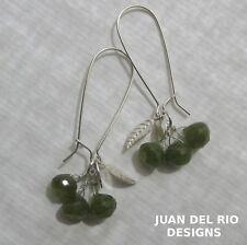 Vesuvianit Vessonit grüne Granat Idocras 925 Silber Ohrringe Blatt Charm Spiegel