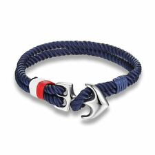 New Blue Anchor Cord Rope Bracelet Nautical Silver. Mens Paracord