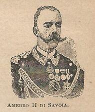 A1016 Amedeo II di Savoia - Stampa Antica del 1911 - Xilografia