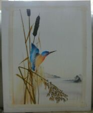 ANDREW SHORTLAND LIMITED EDITION PICTURE ON SILK BIRD LAKE, SCREEN PRINTED