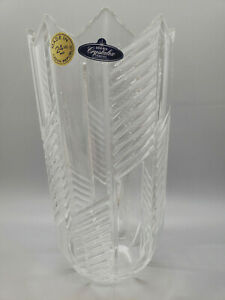 24% Lead Crystal Vase Impression Bohemia Crystal in Box Czech Republic