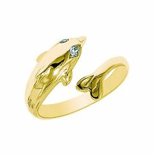 Crossover Adjustable Ring or Toe Ring 10k Solid Gold Cubic Zirconia Dolphin