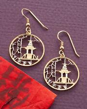 """7/8"""" in Dia.,( # 222E ) Korean Royal Temple Earrings,Hand Cut Korean Coins,"""