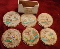 Set Of 6 Beautiful Handmade And Hand Painted Peru Made Table Coasters & Holder