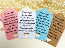 10 Kraft Gift Tags Baby Shower Birth Candle Tag Favour Bomboniere Candle