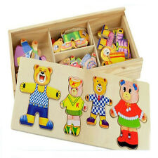 Wooden Dress-Up Clothes Bear Outfits Wood Box Puzzle Set Preschool Kids Toy UK