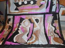 "100% Silk Scarf Geometric Print Black Gray Pink Taupe 32"" x 35"""