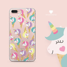 Clear TPU Plastic Case Cover for Apple iPhone Devices - UNICORN RAINBOW HORNS