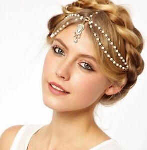 Head Chain Drop Hair Hijab Pearls Beaded Tikka Gold Headpiece Matha Patti uk