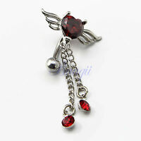 Reverse Ruby Red Crystal Navel Ring Angel Wing 2-Tassel Belly Bar JW734 TW
