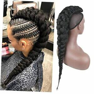 Goddess Braid Fauxhawks High Puff Hair Bun Ponytail for Black Women,CINHOO 1B