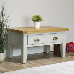 Arklow Painted Oak Coffee Table / Grey 2 Drawer Storage Unit / Living Room