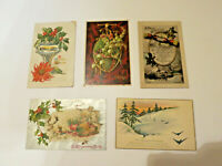5 Antique Vintage Christmas Post Cards from early 1900's Rotary Photo Card LOT 1