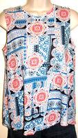 J. Jill Love Linen Sleeveless A-Line Print Top Size XS
