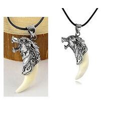 Herren Männer Wolfzahn Wolfkopf Halskette lederkette Kette Anhänger-Geschen O6E5