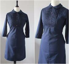 VINTAGE 1950S 60s Original Navy Blue Tiffiny Uniforms USA Rockabilly DRESS 14-16