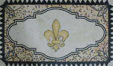 "Fleur De Lys Central FLOOR Decor Rug 59""x36"" Marble Mosaic GEO2179"