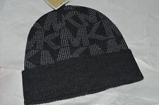 NEW Michael Kors Charcoal Gray Wool Hat Cap $48 One Size Stretch Monogram Logo