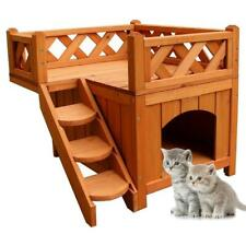Pet Wooden Cat House Living House Kennel with Balcony Wood Color C