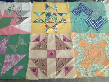Vintage Quilt Blocks Set 6 Patchwork 1930's Cotton Fabric Handsewn