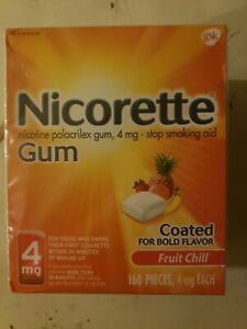 Brand New Nicorette Nicotine Gum 4mg Fruit Chill 160 Pieces - Sealed