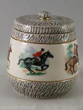 POT A TABAC EN GRES émaillé, années 40 , signé L. Brisdoux, chevaux, cavaliers