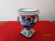 schöne Amphoren Vase - blau-weiß - gestempelt - Handpainted in Holland  /S62