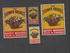 Ancienne   étiquette  allumette  Suède  BB103   Bouquet de Fleurs 7