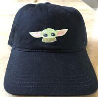 Disney Parks Star Wars Baby Yoda The Child  Mandalorian Black Baseball Hat New