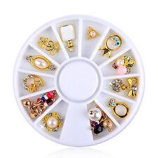 3D nail art wedding rings gold pendant metal alloy wheel