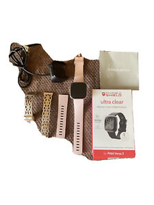 Fitbit Versa 2 Fitness Smartwatch - Peach/Rose-Gold Aluminium (FB504RGPK)