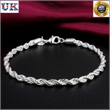 eba0ce2107438 Unisex Man and Woman 925 Sterling Silver ROPE Chain Bracelet 4mm NEW