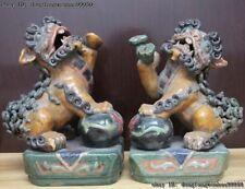 Chinese Famous Folk Pottery Wucai Porcelain Ruyi Foo Dog Lion Kylin Beast Statue
